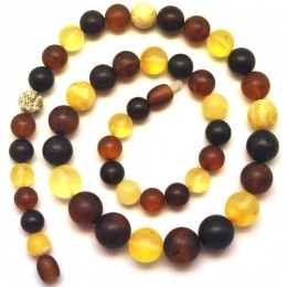 Round beads unpolished  amber necklace
